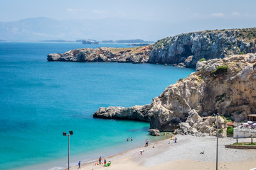The incredible seascaping view of beach with blue sea in morocco in summer