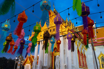 Wall Mural - Tons of lanterns are decoratiing inside Wat Benchamabophit, the Marble temple Bangkok during New Year Celebration at dusk.