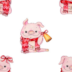 Seamless Christmas pattern with cute pig in scarf