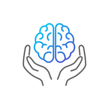 Brain in hands vector icon outline style