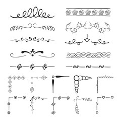 Set of vintage hand drawn vector dividers, lines, borders and ornate corners. Vector isolated elements.