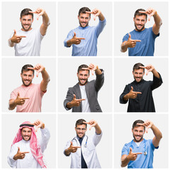 Collage of young doctor arab business man isolated background smiling making frame with hands and fingers with happy face. Creativity and photography concept.