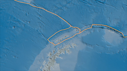 Tectonic plates borders on the satellite map of areas adjacent to the Shetland plate area.