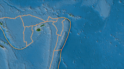 Tectonic plates borders on the satellite map of areas adjacent to the Tonga plate area.
