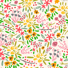 Various leaves, branches and flowers. Ethnic style. Hand drawn vector seamless pattern. Beige background