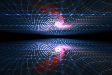 spirals and swirls in the electromagnetic field, electron matrix in perspective, abstract illustration