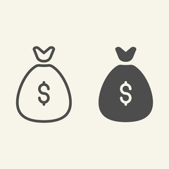 Money bag line and glyph icon. Investment vector illustration isolated on white. Savings outline style design, designed for web and app. Eps 10.