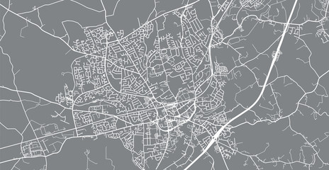 Urban vector city map of Lisburn, Ireland