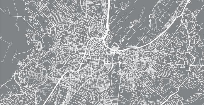 Urban vector city map of Belfast, Ireland
