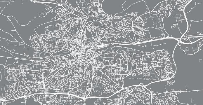Urban vector city map of Cork, Ireland