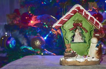 christmas house decoration whit christmas tree background
