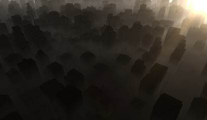 Silhouette cityscape background with sun shine. Black buildings with smoke. 3D Rendering Illustration.