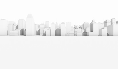 White cityscape background. Many buildings. 3D Rendering Illustration.