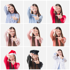 Collage of young doctor, chef asian woman isolated background smiling making frame with hands and fingers with happy face. Creativity and photography concept.
