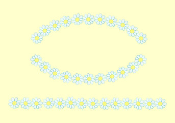 Lines (borders) from watercolor hand drawn white wildflowers - daisy (camomile). Isolated on yellow background. Background can be changed