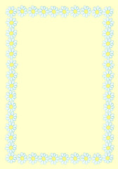 Frame from watercolor hand drawn white wildflowers - daisy (camomile). Isolated on yellow background. Background can be changed