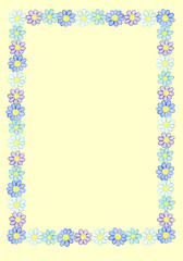 Frame from watercolor hand drawn white, blue and violet wildflowers. Isolated on light yellow background. Background can be changed