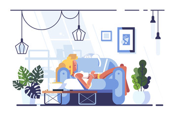 Cartoon blonde relaxing with laptop on sofa