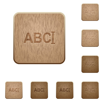 Typing text with cursor wooden buttons