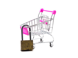 Lock and shopping cart isolated on white background. Saving and accounting concept.