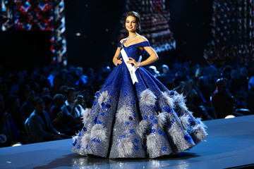 Miss Russia Yulia Polyachikhina in her evening gown during the Miss Universe 2018 preliminary round in Bangkok