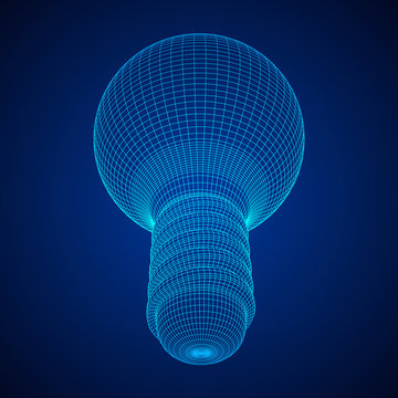 Lamp bulb consisting of lines and polygons. Business idea. Wireframe low poly mesh vector illustration