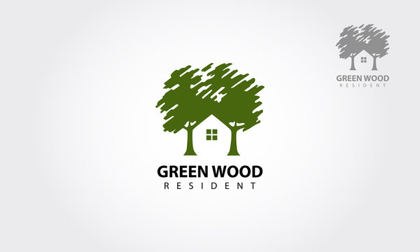 Green Wood Resident Vector logo Template. Design template of two trees incorporate with a house that made from a simple scratch. It's good for symbolize a property or wooden housing business.