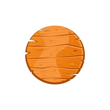 Cartoon round wooden plate. Old west wood pizza dish. Welcome board. Plank for banners or messages. Vector wood board isolated on white background.