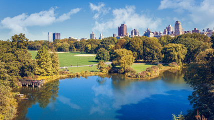 Turtle Pond and the Great Lawn in Central Park, New York City, USA