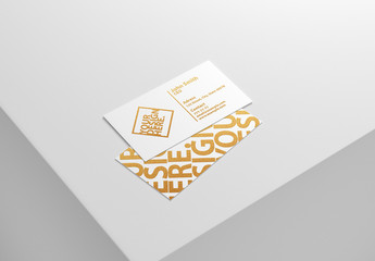 Business Cards on Gray Mockup