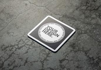 Coaster on Concrete Surface Mockup