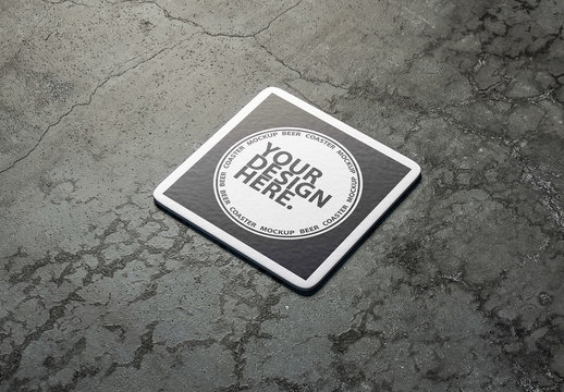 Coaster on Concrete Surface Mockup