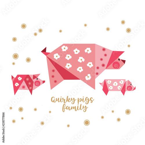 Quirky origami piggy icon  Flat hand drawn fun vector
