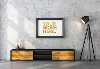 Black Wooden Framed Print Hanging on Concrete Wall Mockup