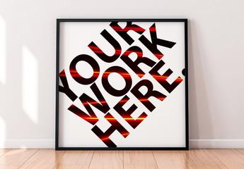 Square Framed Print on Wooden Floor Mockup