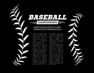 Baseball ball text frame on black background. Vector