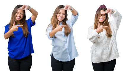Collage of beautiful young woman over isolated background smiling making frame with hands and fingers with happy face. Creativity and photography concept.