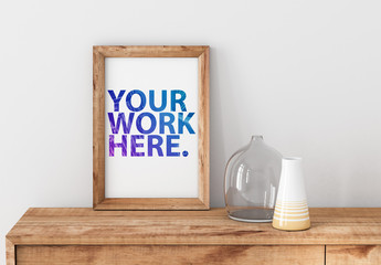 Wooden Framed Print on Bureau Mockup