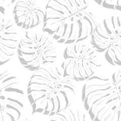 Palm monstera seamless pattern. Abstract tropical summer background in paper style