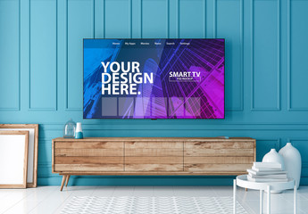 Smart TV  Hanging on Turquoise Wall Mockup