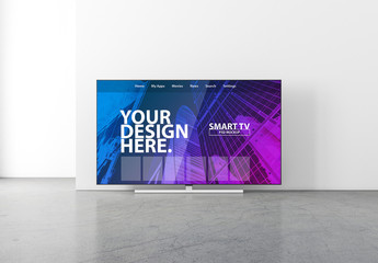 Smart TV in Empty Room Mockup