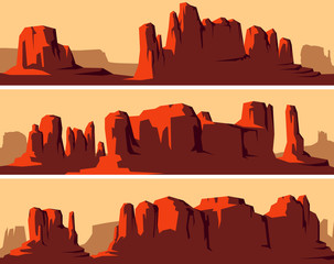 Stylized horizontal banners of wild west desert.