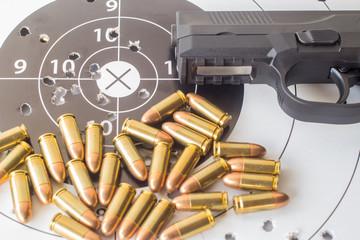 pistol, ammunition, target, weapon,  gun,