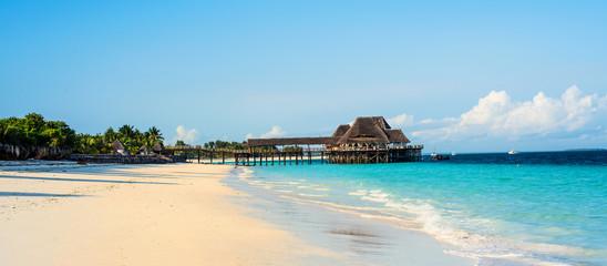Poster Zanzibar scenic view of beautiful beach and blue sky