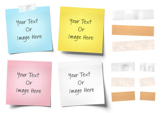 4 Sticky Notes and Tape Isolated Mockup
