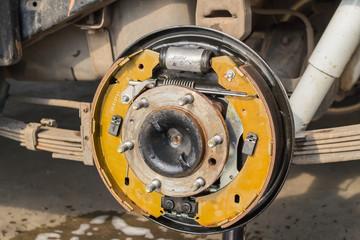 cleaning brake  of car.