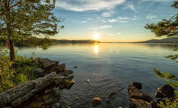 Summer sunset in Norrland - middle in Sweden