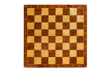 old scratched chess board on white background. texture