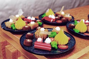 Assortment of desserts, toned image
