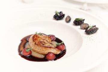 Foie gras with port sauce, close-up, toned